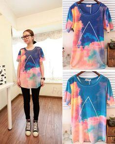 Women Galaxy Tie-Dye Choi Wan Triangle Print Velvet Short Sleeved T Shirt ($18.99) - Svpply