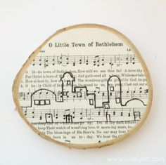 DIY Christmas ornament using the carol O Little Town of Bethlehem, plus free printables of the song to use