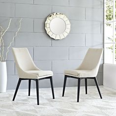 Viscount Fabric Dining Chair, Beige - Energize your decor with the sleek Viscount Side Chair. Designed with a minimalist chic form and progressive feel, Viscount comes densely padded in foam, finely upholstered in polyester fabric, and supported by tapered wood legs coated black. From the sheer force of the design to the exceptional versatility of the uses, Viscount is perfect for modern contemporary decors seeking a bold chair that makes a statement. Set Includes: One - Viscount Dining…