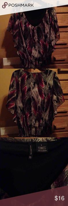 Gorgeous batwing top, size large New Directions batwing top from Belk's. Size large. Has smocked bottom. EUC.  100% Polyester Lining: 100% Polyester new directions Tops Blouses