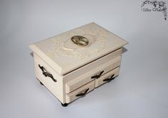Mini chest / mini chest of drawers with mirror, jewelery box, or, box , boxes, wood, for jewelery