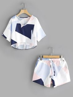 Shop Patchwork Dip Hem Top With Drawstring Shorts online. SheIn offers Patchwork Dip Hem Top With Drawstring Shorts & more to fit your fashionable needs. Cute Lazy Outfits, Teenage Outfits, Pretty Outfits, Kids Outfits, Emo Outfits, Girls Fashion Clothes, Teen Fashion Outfits, Emo Fashion, Ladies Fashion
