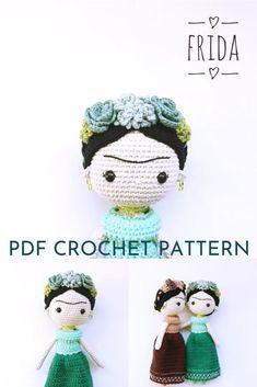 Dolls for International Women's Day Wonderful Frida Kahlo amigurumi doll pattern with gorgeous flowers in her hair. Doll Amigurumi Free Pattern, Crochet Dolls Free Patterns, Crochet Doll Pattern, Amigurumi Doll, Doll Patterns, Crochet Bee, Crochet Bunny, Cute Crochet, Crochet Toys