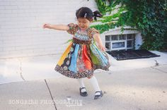Spring, summer, fall winter toddler girls panel patchwork twirl peasant dress - 2T - 6Y. $45.00, via Etsy.