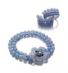 Art Moderne Blue Chalcedony, Sapphire, and Diamond Suite of Jewelry by Suzanne Belperron, Paris, circa 1935