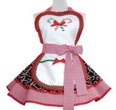 Christmas Apron Candycane Apron by WellLaDiDaAprons on Etsy