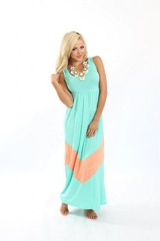 (Pre Sale) MVB Mint and Coral Color Block Chevron Maxi Dress | Dresses - Modern Vintage Boutique