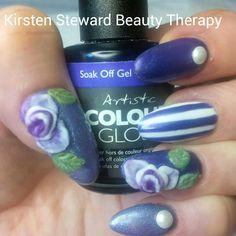 3d acrylic nail art Artistic Colour Gloss stripes, vintage roses