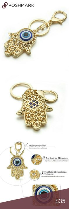 Beautiful Good luck charm. Hamsa Beautiful  Good luck charm, Hamsa, God Hand. 14k gold plated, with a top Australian Rainstones. Could be worn as  Bag charm, baby Crip charm, car charm, baby stroller charm. Great gift. Just eye-catching keychain. Accessories Key & Card Holders