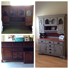 China hutch makeover. Ann Sloan chalk paint. French Linen. Stained wood top. Painted furniture
