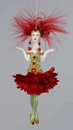 Van Craig Vantastiks Green and Red Flower Showgirl Dancer Christmas Ornament - I love the Van Craig ornaments and have several on my tree!