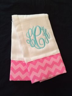 Baby boy and Baby Girl Monogramed and Appliqued Burp Cloths   by PurttyStitches on Etsy https://www.etsy.com/listing/198639114/baby-boy-and-baby-girl-monogramed-and