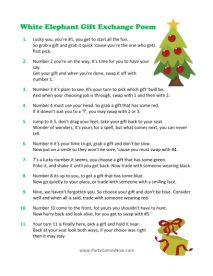 White Elephant Gift Exchange Poem Game - Christmas Gift Exchange Ideas, Printable Christmas Games - Played this today, it was so fun! Christmas Gift Exchange Games, Xmas Games, Printable Christmas Games, Christmas Party Games, Christmas Activities, Holiday Fun, Holiday Games, Holiday Ideas, Xmas Party