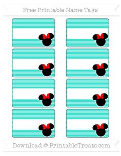 Free Turquoise Horizontal Striped  Minnie Mouse Name Tags