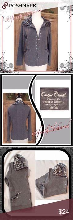 Light Weight Sweatshirt zip up✨✨✨✨ Super cute, neckline leopard silky print, dress up casual wear✨✨✨✨✨ Onque Casuals Jackets & Coats