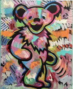 Grateful Dead Dancing Bear painting by artist Matt Pecson - Grateful Dead Dancing Bear painting by artist Matt Pecson You are in the right place about Grateful - Grateful Dead Tattoo, Grateful Dead Dancing Bears, Grateful Dead Wallpaper, Bear Paintings, Dead And Company, Bear Wallpaper, Bear Art, Psychedelic Art, Rock Art