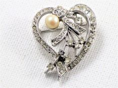 Vintage Clear Rhinestone Faux Pearl Silver Tone Heart Brooch