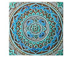 Outdoor wall art with Mandala design, Garden art made in Spain, garden decor made from ceramic, Ceramic tile mandalita deco turquoise