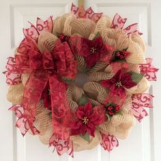 Burlap Deco Mesh Wreath with Burgundy Ribbon and Poinsettias | eBay