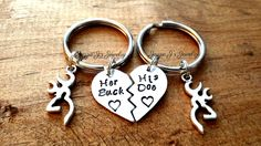 Her Buck His Doe Hand Stamped Keychains with Browning Inspired Deer Charm, Personalized Set, Personalized Gift for Couples, His and Hers by JazzieJsJewelry on Etsy