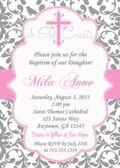 GIRLS Baptism Invitation / Pink Grey Damask / por PinkInkCreation