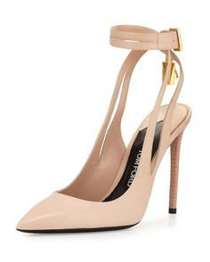 X376B TOM FORD Leather Ankle-Lock 105mm Pump, Nude
