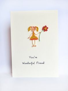 Friendship quilling greeting card - handmade and unique. $8.00, via Etsy.