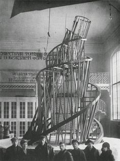 Model for the International Tower, Vladimir Tatlin initiated Russian Constructivism. As a new interdisciplinary movement, Russian Constructivism derived its name from Tatlin's construction of abstract sculptures.
