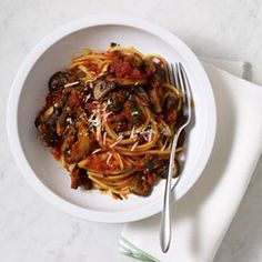 Spicy Mushroom and Parsley Linguine Recipe – Pasta Recipes at WomansDay.com