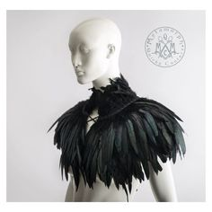 Feather capelet with high collar Feather shoulder wrap shrug Luxurious... ❤ liked on Polyvore featuring outerwear, wrap cape, feather capelet, cardigan shrug, feather cape and cape coat