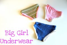 Big girl underwear pattern and tutorial Sewing Projects For Kids, Sewing For Kids, Baby Sewing, Sewing Ideas, Sewing Patterns, Sewing Crafts, Kids Patterns, Free Sewing, Toddler Underwear