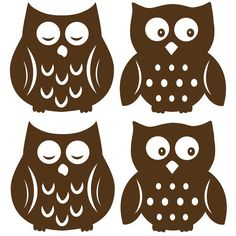 Sleepy owls and wide awake owls are super cute for your child's walls. Make a nursery extra special with these brown silhouette owl decals. Soothe bedtime fears and encourage imagination with these friendly owl wall decals. Owl Silhouette, Silhouette Images, Silhouette Machine, Silhouette Cameo Projects, Vinyl Decals, Wall Decals, Wall Art, Wall Stickers, Cute Owl