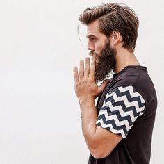 Long #beard and medium hair.