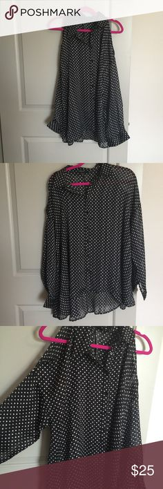 NWOT Polka Dot cold Shoulder Blouse NWOT Black & White Polka Dot Blouse. Cutout on the top of the shoulder, still covers the arms though!! Long sleeve! Brand new!! Lane Bryant Tops Blouses