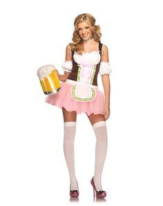 Beer Garden German Girl Pink Dress Costume