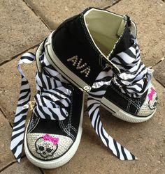 11036e3b6a59 Custom Monster High Skull Name Swarovski Crystal Rhinestone Baby Toddler  High Top Converse Bling Shoes