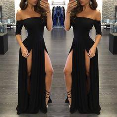 Women Off Shoulder Split Fancy Ball Gown Cocktail Evening Party Long Maxi Dress