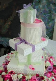 Gift Box Wedding Cakes- lots of great ideas by Sky13