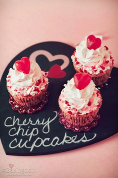 Sweet Cherry Chip Cupcakes | 21 Valentine Cupcakes That Will Make Your Coworkers LoveYou