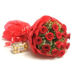 Check out our New Product  Sweet N Beautiful -VL Valentine Special Bunch of 15 Long Stem Red Roses with 200gm Ferrero rocher chocolate box.  Rs.1,999