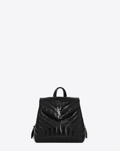 "SAINT LAURENT Small Loulou Backpack In Black ""Y"" Matelassé Patent Leather. #saintlaurent #bags #patent #backpacks #"