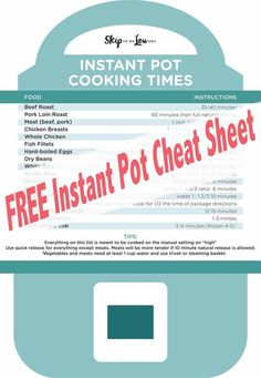 Instant Pot pressure cooker recommended cooking times. Free printable cheat sheet. #instapot #instantpot #pressurecooker #recipes