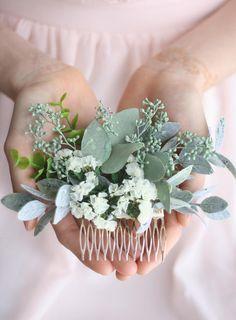 Eucalyptus hair comb greenery succulent Bridal hair vine boho