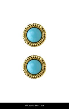 Ben-Amun - St. Tropez Button Earrings In Turquoise | CoutureCandy.com