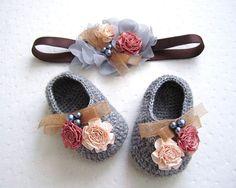 Flowery Beaded Gray Wool Crochet Baby Booties & Headband Set - 4 Sizes - Ready to Ship on Etsy, $41.00