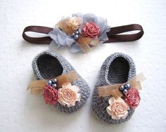 Flowery Beaded Gray Wool Crochet Baby Booties & Headband Set - 4 Sizes - Ready to Ship on Etsy, $41.00
