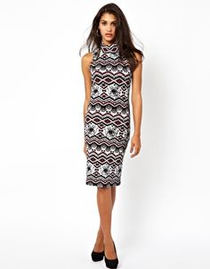 Shop Club L Printed Midi Dress With High Neck at ASOS. 30th Birthday Outfit, My Shopping List, Turtleneck, Fashion Online, Asos, Dresses For Work, Club, Printed, Stuff To Buy