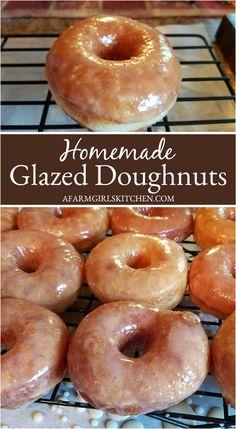 Homemade Glazed Donut Recipe, Baked Doughnut Recipes, Homemade Donuts, Homemade Recipe, Glazed Doughnut Recipe, Simple Donut Recipe, Baked Donuts, Delicious Donuts, Delicious Desserts
