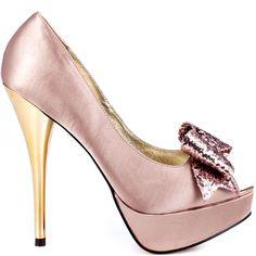 Pink Heels I Love #heels #summer #high_heels #color #love #shoes Kissy Kiss - Light Pink Satin                      Luichiny