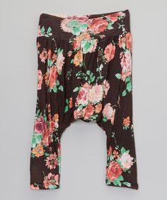 Look at this Black Vintage Rose Harem Pants - Infant, Toddler & Girls on #zulily today!